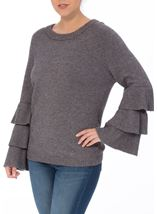 Tiered Long Sleeve Knit Top Grey Marl - Gallery Image 2