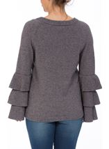 Tiered Long Sleeve Knit Top Grey Marl - Gallery Image 3