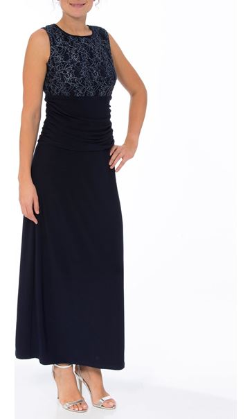 Drape Lace Overlay Floral Maxi Dress Midnight