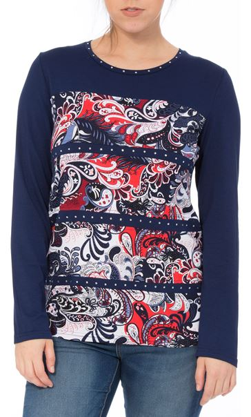 Anna Rose Long Sleeve Print Panel Top Navy/Print