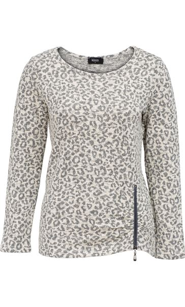 Long Sleeve Animal Print Knit Top Cream/Grey