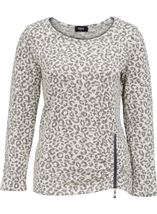 Long Sleeve Animal Print Knit Top Cream/Grey - Gallery Image 1