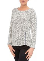 Long Sleeve Animal Print Knit Top Cream/Grey - Gallery Image 2