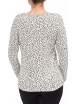 Long Sleeve Animal Print Knit Top Cream/Grey - Gallery Image 3
