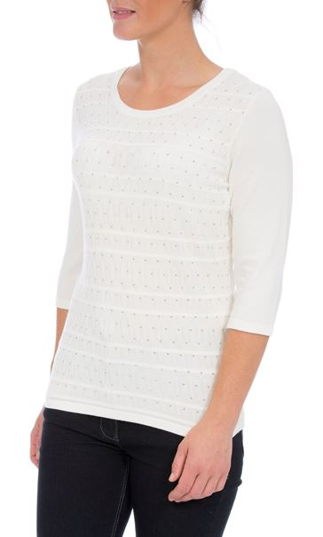 Anna Rose Embellished Knit Top Ivory