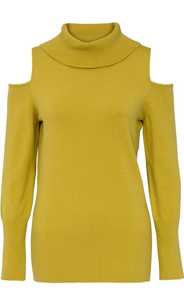 Cold Shoulder Cowl Neck Knit Top Lime