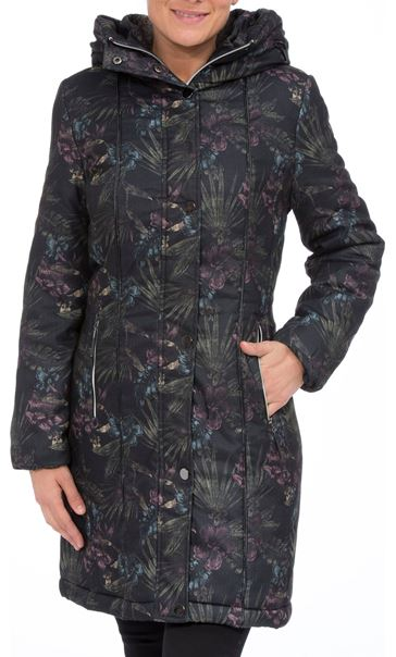 Padded Botanical Printed Coat Charcoal