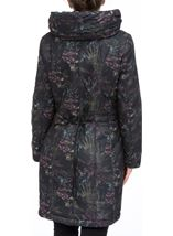 Padded Botanical Printed Coat Charcoal - Gallery Image 2