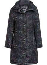 Padded Botanical Printed Coat Charcoal - Gallery Image 3