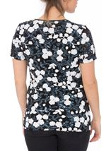 Anna Rose Short Sleeve Sequinned Top Navy/White - Gallery Image 3