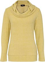 Long Sleeve Stripe Cowl Neck Knit Top Green - Gallery Image 1