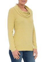 Long Sleeve Stripe Cowl Neck Knit Top Green - Gallery Image 2