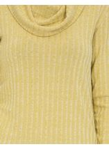 Long Sleeve Stripe Cowl Neck Knit Top Green - Gallery Image 4