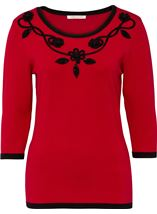 Anna Rose Floral And Bead Trim Knit Top Red/Black - Gallery Image 1