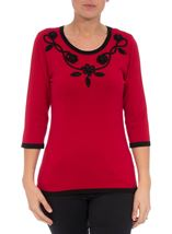 Anna Rose Floral And Bead Trim Knit Top Red/Black - Gallery Image 2