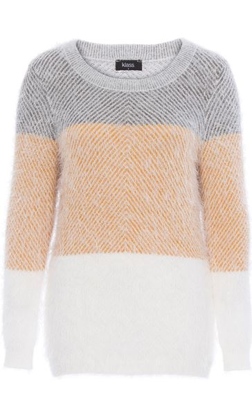 Long Sleeve Eyelash Knit Top Grey/Mustard