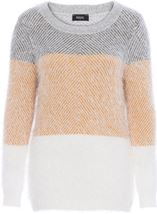 Long Sleeve Eyelash Knit Top Grey/Mustard - Gallery Image 1