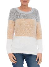 Long Sleeve Eyelash Knit Top Grey/Mustard - Gallery Image 2