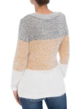 Long Sleeve Eyelash Knit Top Grey/Mustard - Gallery Image 3