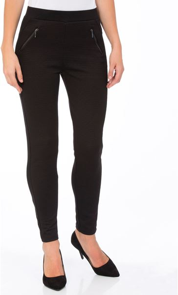 Textured Zip Detail Trousers Black
