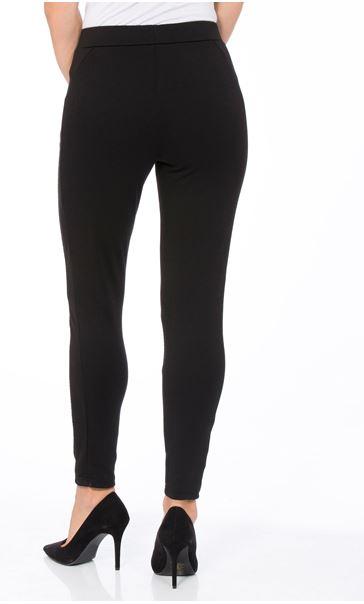 Textured Zip Detail Trousers Black - Gallery Image 2