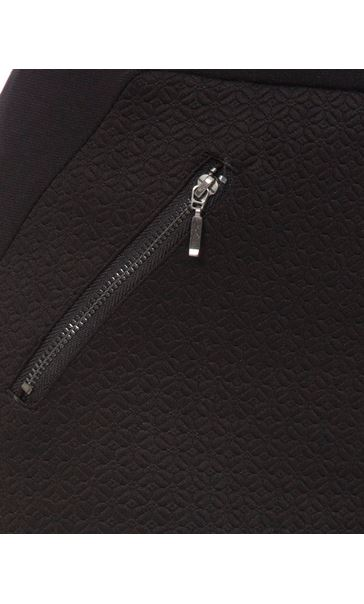 Textured Zip Detail Trousers Black - Gallery Image 3