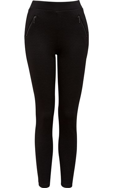 Textured Zip Detail Trousers Black - Gallery Image 4