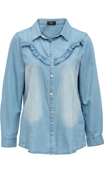Denim Frill Long Sleeve Top Dk Denim