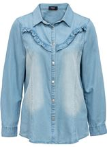 Denim Frill Long Sleeve Top Dk Denim - Gallery Image 1