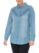 Denim Frill Long Sleeve Top Dk Denim - Gallery Image 2
