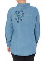 Denim Frill Long Sleeve Top Dk Denim - Gallery Image 3