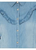 Denim Frill Long Sleeve Top Dk Denim - Gallery Image 4
