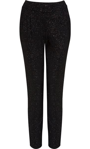 Tapered Leg Sparkle Stretch Trousers Black/Rainbow
