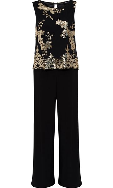 Sequin Mesh Layer Jumpsuit Black
