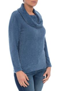 Cowl Neck Eyelash Knit Top - Airforce