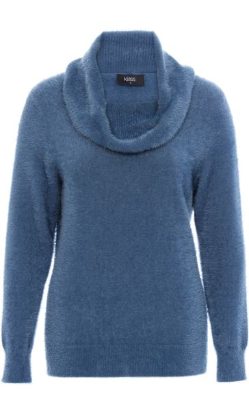 Cowl Neck Eyelash Knit Top Airforce