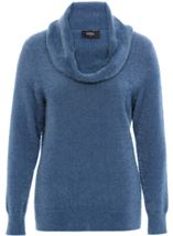 Cowl Neck Eyelash Knit Top Airforce - Gallery Image 1