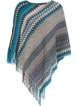 Knitted Chevron Design Poncho Grey/Blue - Gallery Image 1