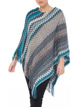 Knitted Chevron Design Poncho Grey/Blue - Gallery Image 2