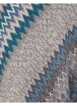 Knitted Chevron Design Poncho Grey/Blue - Gallery Image 4