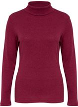 Long Sleeve Turtle Neck Jersey Top Magenta - Gallery Image 1