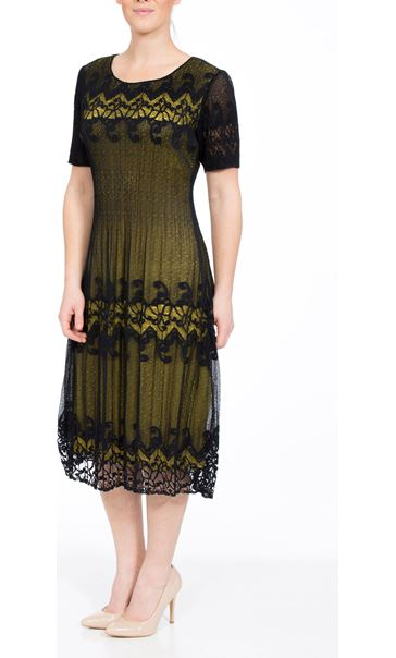 Crinkle Lace Short Sleeve Midi Dress Navy/Lime
