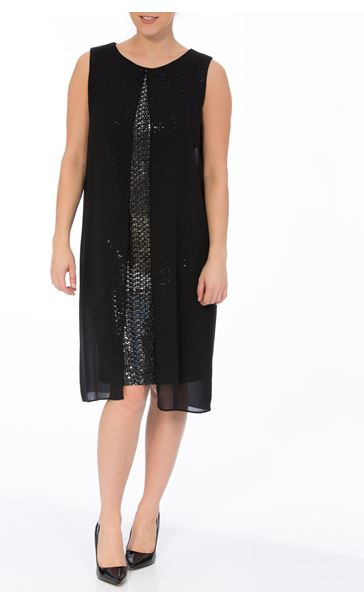 Sleeveless Sequin And Chiffon Layer Midi Dress Black/Silver