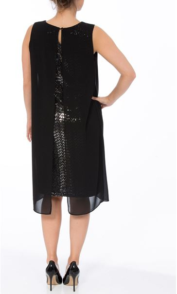 Sleeveless Sequin And Chiffon Layer Midi Dress Black/Silver - Gallery Image 2