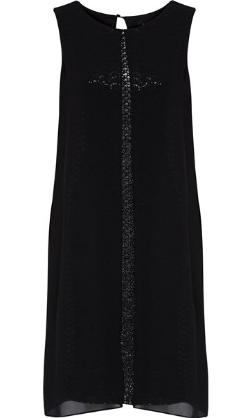 Sleeveless Sequin And Chiffon Layer Midi Dress Black/Silver - Gallery Image 3