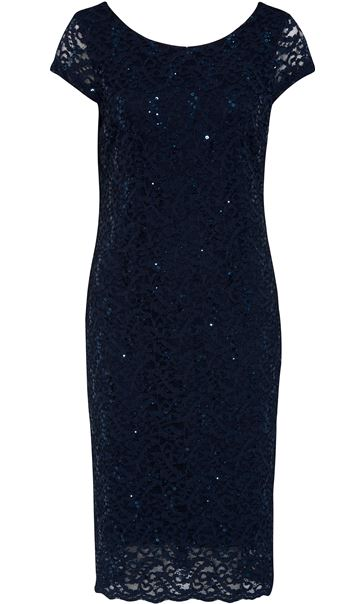 Fitted Lace And Sequin Shift Dress Navy