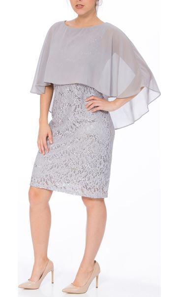 Chiffon Layer Lace Midi Dress Silver