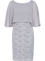 Chiffon Layer Lace Midi Dress Silver - Gallery Image 3