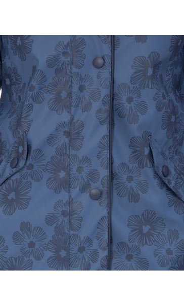 Anna Rose Hooded Floral Raincoat Navy/Mid Blue - Gallery Image 4