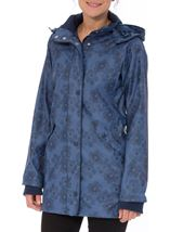 Anna Rose Hooded Floral Raincoat Navy/Mid Blue - Gallery Image 1